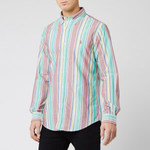 Polo Ralph Lauren Men's Oxford Multi Stripe Shirt - Garnet/Yellow Multi