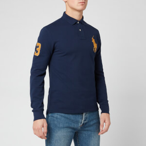Polo Ralph Lauren Men's Long Sleeve Big Polo Shirt - Newport Navy/Gold