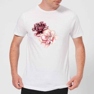 Pink Flowers Men's T-Shirt - White
