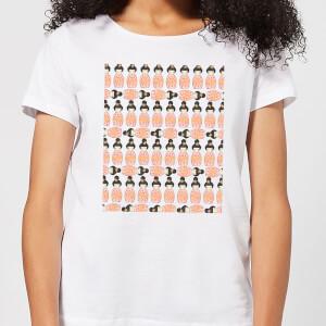 Orange Geisha Block Print Women's T-Shirt - White