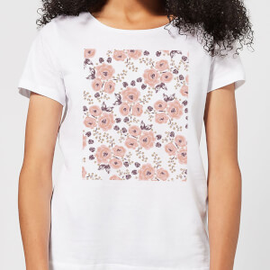 Floral Rose Pattern Women's T-Shirt - White