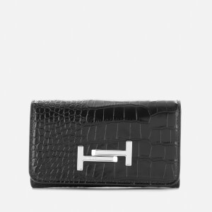 Tod's Women's Logo Small Flap Wallet - Black