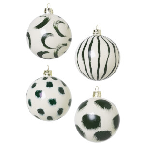 Ferm Living Christmas Hand Painted Glass Ornaments - Green (Set of 4)