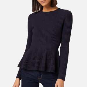 Ted Baker Women's Jariala Stitch Detail Peplum Jumper - Dark Blue