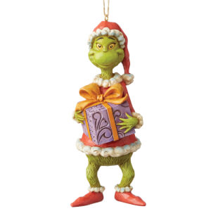 The Grinch By Jim Shore Grinch Holiding Present (Hanging Ornament)