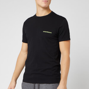 Emporio Armani Men's Script Logo Twin Pack T-Shirt - Black/Black