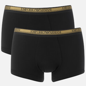 Emporio Armani Men's 2 Pack Trunk Boxer Shorts - Black/Black