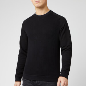 Ted Baker Men's Pied Knit Ribbed Front Cotton Sweatshirt - Black