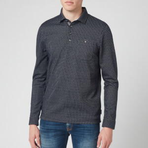 Ted Baker Men's Out Of Long Sleeve Jacquard Polo Shirt- Navy