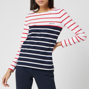 Barbour Women's Hawkins Breton Stripe Long Sleeve Top - White/Brick Red