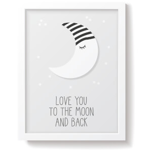 Snüz To The Moon & Back Nursery Print - Grey