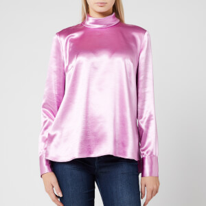 HUGO Women's Cayanas Satin Long Sleeve Top - Light/Pastel Purple