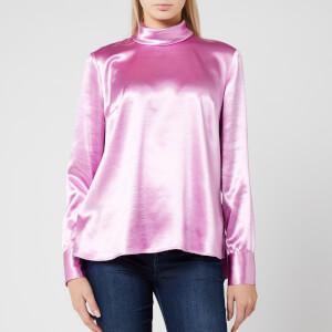 HUGO Women's Cayanas Satin Long Sleeve Top - Light/Pastel Purple