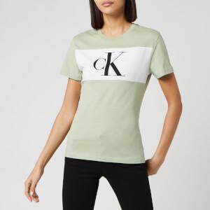Calvin Klein Jeans Women's Blocking Monogram Ck Short Sleeve T-Shirt - Earth Sage