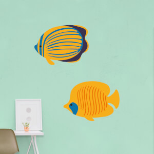 Striped Coral Fish And Butterfly Fish Wall Art Sticker Pack