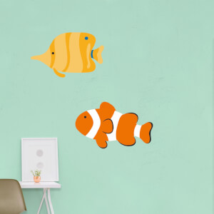 Long Nosed Butterfly Fish And Clown Fish Wall Art Sticker Pack