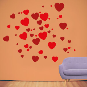 Light And Dark Red Love Hearts Wall Art Sticker Pack