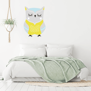 Yellow Owl Wall Art Sticker