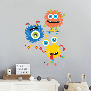 Three Monsters On Skateboards Wall Art Sticker