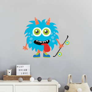 Blue Monster With Skateboards Wall Art Sticker