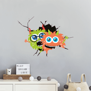 Monsters Through Cracked Wall Wall Art Sticker