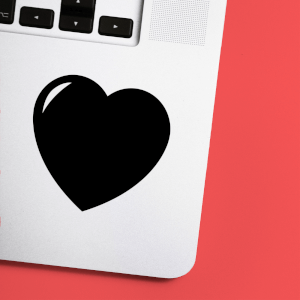 Love Heart Laptop Sticker
