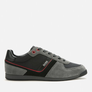 BOSS Men's Glaze Low Profile Suede Trainers - Grey