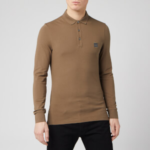 BOSS Men's Passerby Polo Long Sleeve Shirt - Taupe