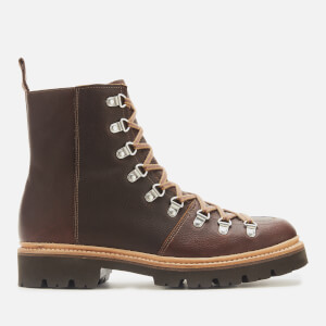 Grenson Men's Brady Oily Pull Up Grained Leather Hiking Style Boots - Brown