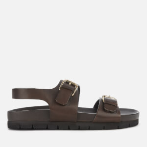 Grenson Men's Lennox Leather Double Strap Sandals - Dark Brown
