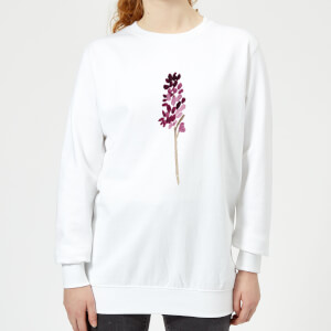 Hyacinth Purple Flower Women's Sweatshirt - White