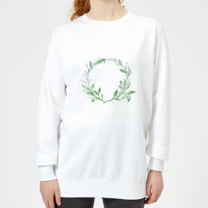 Green Leaf Reef Women's Sweatshirt - White