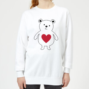 Love Heart Bear Women's Sweatshirt - White