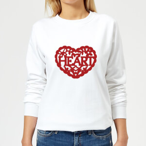 Red Cut Out Heart Text Women's Sweatshirt - White
