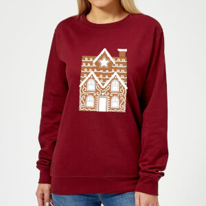 Gingerbread House Two Women's Sweatshirt - Burgundy