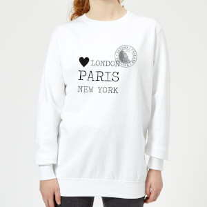London Paris New York Stamp Women's Sweatshirt - White