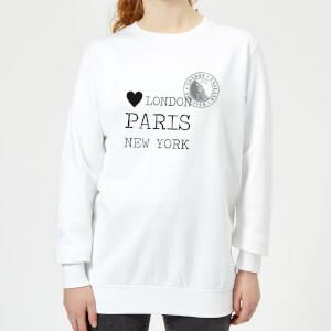 London Paris New York Stamp Women's Sweatshirt - White