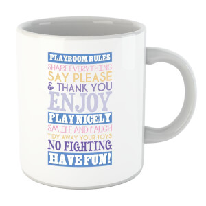 Playroom Rules Blue Banner Mug