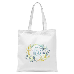You Make My Heart Smile Tote Bag - White