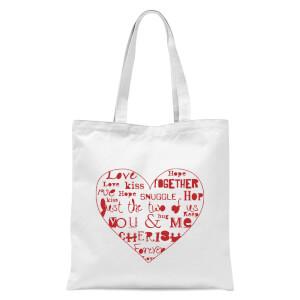 Love Dovey Words Heart Outline Tote Bag - White