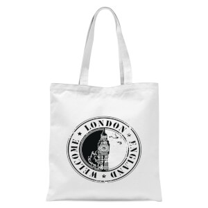 Welcome London England Tote Bag - White