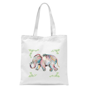 Indian Elephant With Leaf Border Tote Bag - White