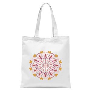 Floral Mandala Tote Bag - White