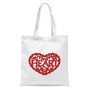 Red Cut Out Heart Text Tote Bag - White