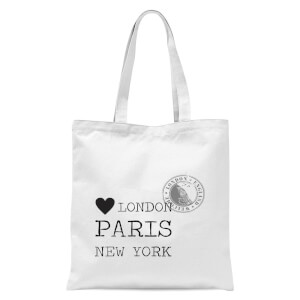 London Paris New York Stamp Tote Bag - White