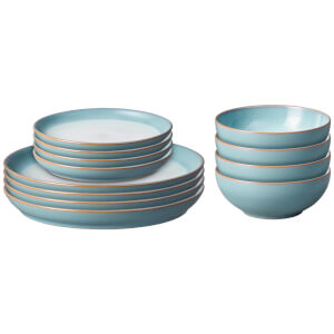 Denby Azure Haze 12 Piece Coupe Tableware Set