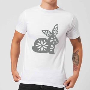 Candlelight Folk Silhouette Rabbit Cutout Men's T-Shirt - White