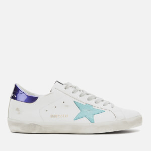 Golden Goose Deluxe Brand Men's Superstar Leather Trainers - White/Sea Blue Star