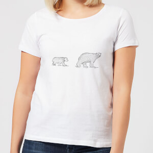 Candlelight Mum And Cub Polar Bear Women's T-Shirt - White