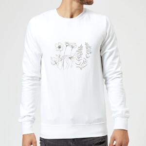 Candlelight Wild Flower Line Art Sweatshirt - White